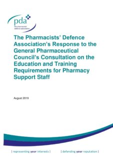 thumbnail of GPhC Education and Training of Pharmacy Support Staff Consultation Response FINAL 20-08-2019