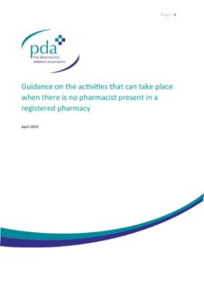 thumbnail of Guidance on the activities that can take place when there is no pharmacist present in a registered pharmacy