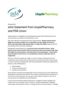 thumbnail of Joint Statement from LloydsPharmacy and PDA Union