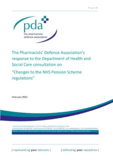 thumbnail of PDA response to consultation on changes to NHS Pensions Regulations_FINAL