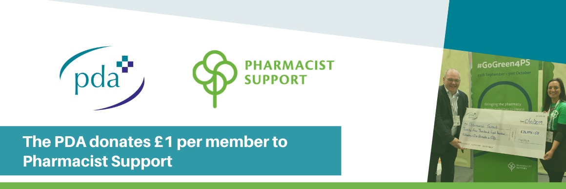 Each year the PDA donates £1 per member to Pharmacist Support