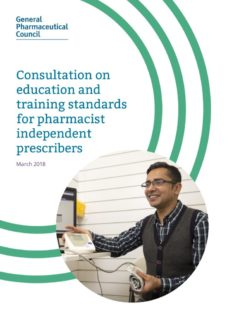 thumbnail of consultation_on_education_and_training_standards_for_pharmacist_independent_prescribers_march2018